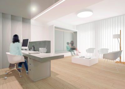 Reforma clínica dental Sabadell - Mostrador i sala d'espera